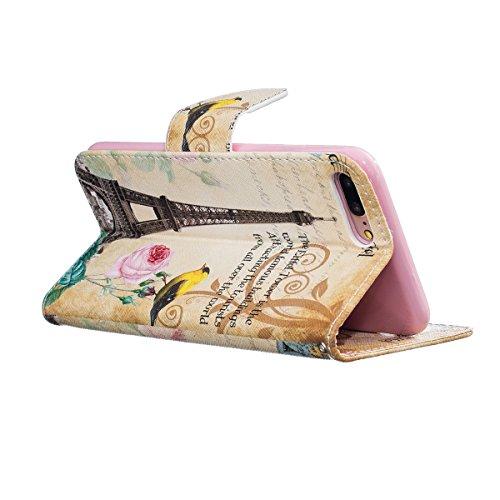 iPhone 7 Plus Hülle,SainCat PU Leder Hülle Brieftasche im BookStyle Wallet Case Lederhülle Folio Karikatur Muster Bär Schutzhülle Ledertasche Hülle Bumper Handytasche Skin Schale Soft Backcover Handy  Eiffelturm