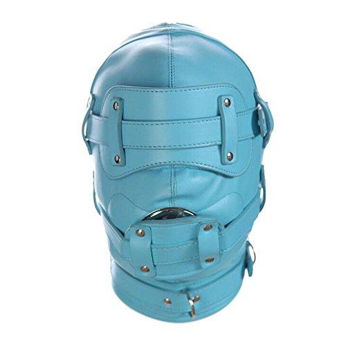 LYM Isolationsmaske Leder Full Face Fetisch Hood Maske Bondage Knebel Masken Sklaven Erwachsene Sexspielzeug Für Paare Halloween Cosplay SM005 , blue , mouth Plug long Penis