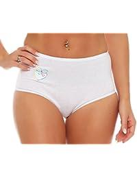 5er Pack Damen Slips Schlüpfer mit Stickerei weiß 100/% Baumwolle 4205 Underwear