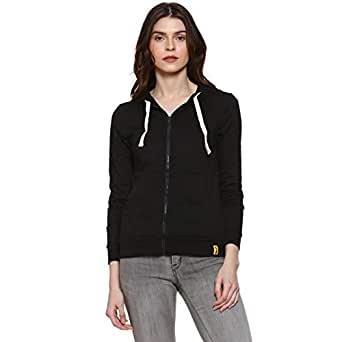 Campus Sutra Women Plain Black Zipper Hoodie(AZW119_ZH_W_PLN_BL_AZ_S)