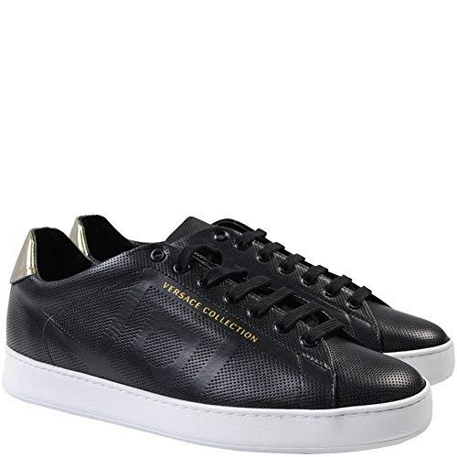 Versace Kollektion Leder Logo Trainer schwarz & weiß 7 Black