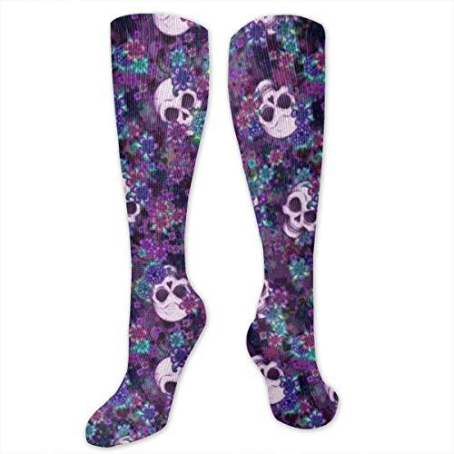 Wfispiy Flowers and Skulls Women&Men Socks Dress Socks Length 19.7in/Width 3.4in Polyester Material Knee High Socks Girls Socks Mid Stockings Personality Socks Ebay Flower Girl