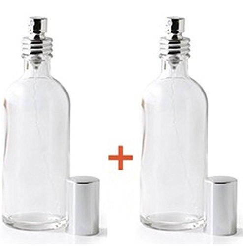 flacons en verre transparent 100 ml (FO) - avec vaporisateur et capuchon argenté - Lot de 2