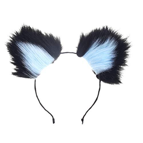 Kostüm Katze Ohren Blaue - Amosfun pelz fuchs katze ohren stirnband halloween kostüm für halloween party (schwarz und blau)