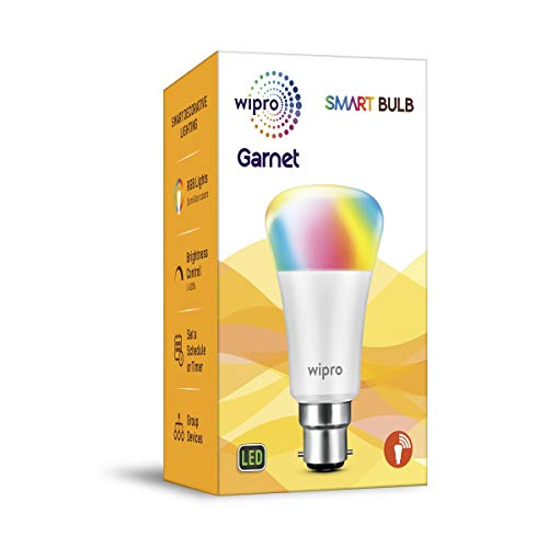 Wipro Garnet Smart Light 7W B22 LED Bulb, Compatible with Amazon Alexa & Google Assistant