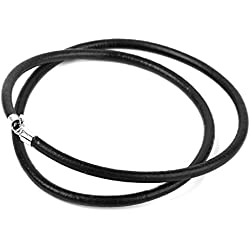 3mm Cordon Cuerda Cable De Cuero Negro Collar De Plata Esterlina 16 pulgadas