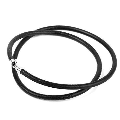 3mm Cordon Cuerda Cable De Cuero Negro Collar De Plata Esterlina 16 pu