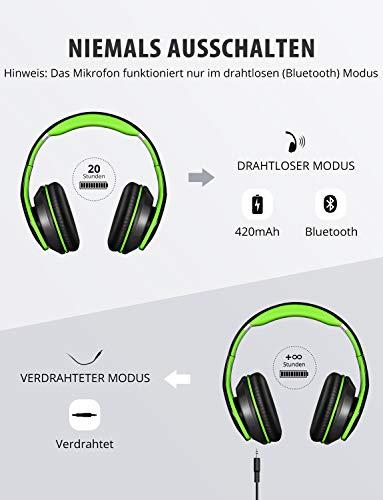 Mpow Bluetooth Kopfhörer Over Ear, [Bis zu 20 Std] Kabellose Kopfhoerer mit Hi-Fi Stereo mit Dual 40mm Treiber, CVC 6.0 Noise Canceling für Integriertem Mikrofon Freisprechen - 4