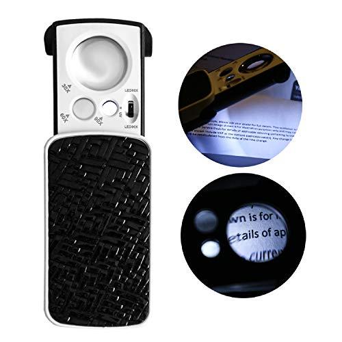 Kurtzy Kleine Taschenlupe mit LED Licht 30 x 60x 90x Multi-Power Juwelier Lupe Schiebelupe mit UV Schwarzlicht am Besten für Schmuck, Diamanten, Edelsteine, Münzen, Briefmarken und Lesehilfe - Multi-licht