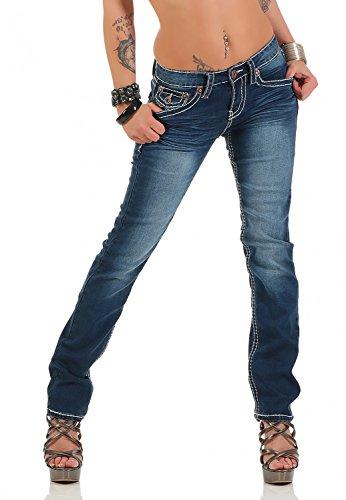 Damen Jeans Hose Gerades Bein Dicke Naht (539), Grösse:40 L, Farbe:Dunkelblau (Bein-hosen-jeans)