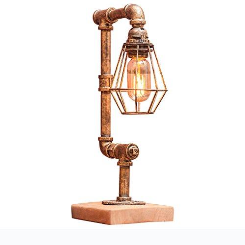 TMY Loft Industrie Vintage Holz Tischlampe, dimmbare Schlafzimmer Wohnzimmer Arbeitszimmer Schreibtischlampe, Loft Nostalgische Steampunk Eisenrohr Tischlampe Schreibtisch lampe - Industrie-schreibtisch-lampe