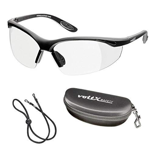 voltX 'Constructor' Schutzbrille +1,50 Dioptrien mit Sehstärke inkl. Sicherheitskordel mit Stopper und Schutzhülle - farblos - LESERSCHUTZBRILLE Vergrößerung linse Schutzbrille mit Lesehilfe -