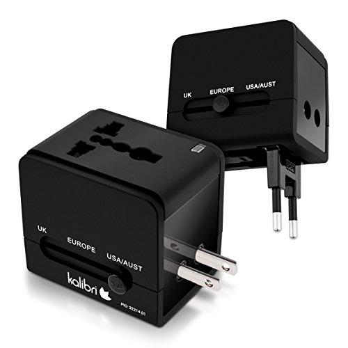 kalibri Universal Reiseadapter 150 Länder - universeller Reisestecker Adapter international - 2 integrierte USB Ports - Oberfläche gummiert