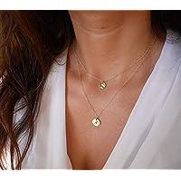 Collier plaqué or - Médailles martelées - Collier double - Double tours - cercles dorés - bohème-chic - boho - collier disques double
