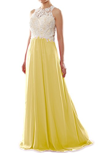 MACloth Women High Neck Lace Chiffon Long Prom Dress Formal Party Ball Gown Gelb