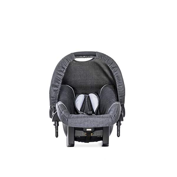 Hauck Pacific 4 Shop N Drive, Lightweight Pushchair Set with Group 0 Car Seat, Carrycot Convertible to Reversible Seat, Footmuff, Large Wheels, From Birth to 25 kg, Melange Charcoal Hauck  11