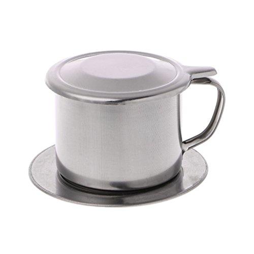 Lagand Kaffeefilter aus Edelstahl, vietnamesischer Kaffee-Filter L: 9.5x6cm/3.74x2.36' silber