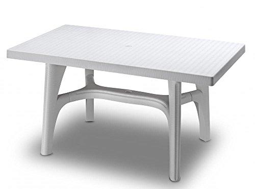 Ideapiu Table rectangulaire 140 x 80, Table rotin synthétique, Table tressé Blanc Lin