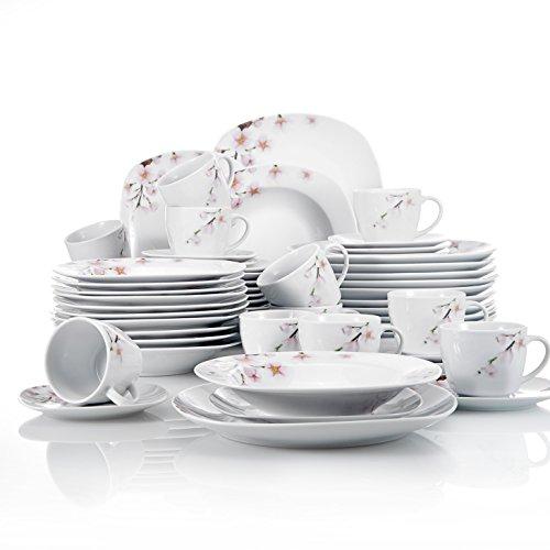 VEWEET Annie Juegos de Vajillas 60 Piezas de Porcelana con 12 Taza 175 ml, 12 Platillos, 12 Platos, 12 Platos de Postre y 12 Platos Hondos para 12 Personas