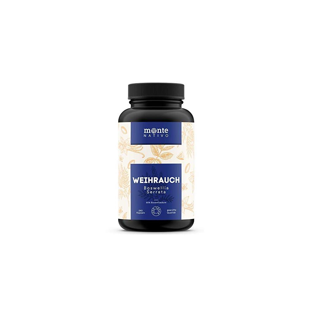 Weihrauch Extrakt MonteNativo – 240 Kapseln (85% Boswelliasäure) | 310 mg Weihrauchextrakt pro Kapsel | Boswellia Serrata Weihrauch aus Indien, hergestellt in Deutschland