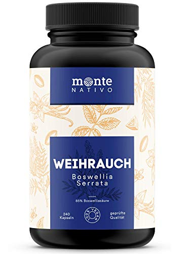Weihrauch Extrakt MonteNativo - 240 Kapseln (85% Boswelliasäure) | 310 mg Weihrauchextrakt pro Kapsel | Boswellia Serrata Weihrauch aus Indien, hergestellt in Deutschland
