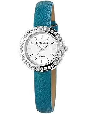 Damenuhr Uhr Silberfarbig Lederarmband 20cm Türkis Dornschließe 195623000018