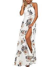 8ea07a7bc2a3 Mescara Damen Sommerkleid Maxi Strand Kleid für Hochzeit mit Blumen  Schulterfrei Split Chiffon