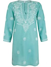 e0871ad62d46 Ladies Deep Turquoise Beach Kaftan Cover Up with White Hand Embroidery