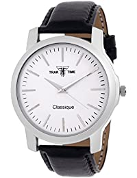 Traktime Classique Analogue White Round Dial Wrist Watch For Men / Women With Black Leather Strap