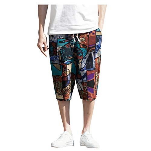 Harem Baumwoll Leinen Pyjama mit weitem Bein für Herren lose kurz geschnittene Hose Large size cotton and linen national wind harem pants cropped trousers Blau M/L/XL/XXL/3xL/4xL/5XL -