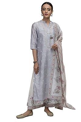 KORA Women's Chanderi Kurta, Slip, Pant and Duppata