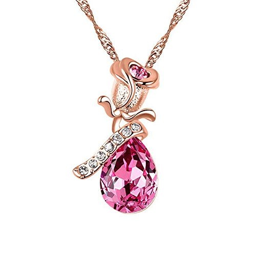 Love & gem rosa 18k placcato oro rosa a goccia con cristalli swarovski ciondolo a forma di fiore di collana, 18ct base metallo placcato oro, colore: rose, cod. rose lover