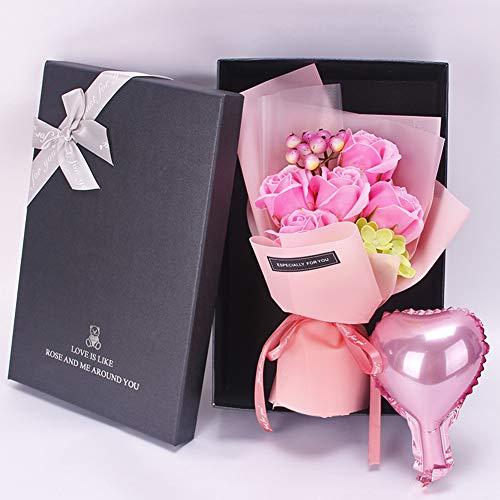 Flor artificial Caja de regalo Jabón aromático Boda DIY Ramo de rosas Decoración Cumpleaños Hogar Día de San Valentín Simulación Baño Hecho a mano(Rosa)