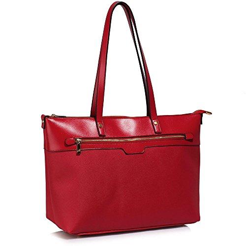 TrendStar Frauen Designer Taschen Patent Schulter Berühmtheit Stil Trage Damen Mode Handtaschen (C - Rot) C - Rot