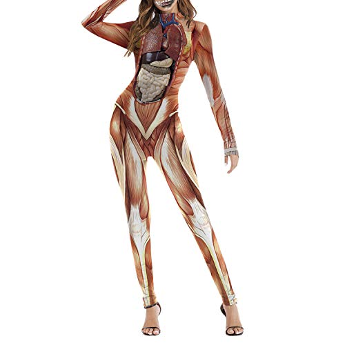 Kostüm Erwachsene Skelett Suit Für Skin - Frestepvie Damen Jumpsuit Skelett Overall Muskel Romper Rose Bodysuit Blut Halloween Party Kostüm