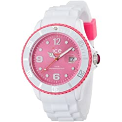 Ice-Watch Big Quartz Watch with Pink Dial Analogue Display and White Silicone Strap SI.WP.B.S.12