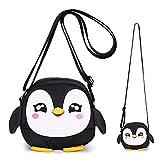 Sumnacon kleine Mädchen Geldbörse kleine Strumpf Füllstoffe Kinder Schulter Handtasche Cross Body Messenger Bag mit Reißverschluss (Black Penguin)