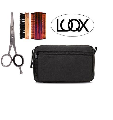 LUQX Bartpflegeset - edle Bartbürste aus Olivenholz & Bartkamm & Bartschere & Tasche
