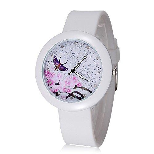 ufengke® romantique papillon violet prune fleur cadran robe montre à bracelet du poignet pour les filles de dames,les chiffres de strass montre bracelet en caoutchouc