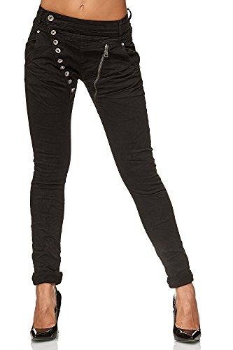 Elara Damen Jeans | Knopfleiste | Reißverschluss | Chunkyrayan C613K-15/F15 Black 50