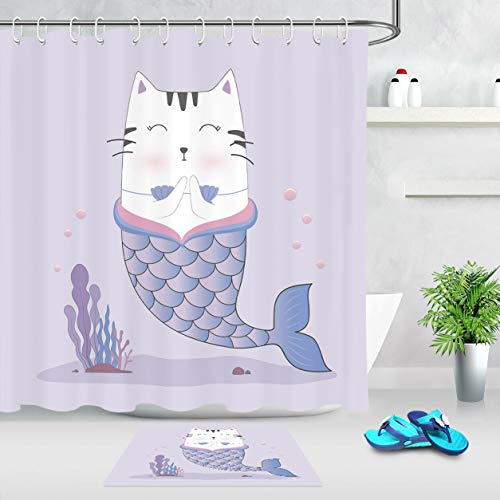 Purple Kitty Zubehör Set - vrupi Lustige Kitty Meerjungfrau Cartoon Muster