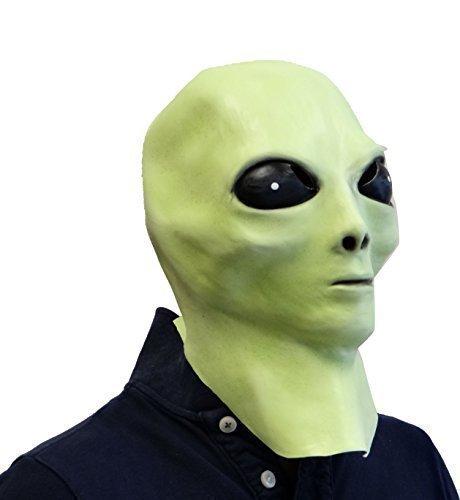 Rubber Johnnies TM Alien Latex Maske (Leuchtet Im Dunkeln) UFO Extra Terrestrische Film Kostüm Party Maske
