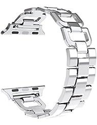 Für Apple Watch Armband, Wearlizer D-Typ Edelstahl Zubehör Armbänder Ersatz Band für iWatch Serie 1 und Serie 2