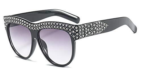 NSYJDSP Glitter Strass Sonnenbrille Platz Frauen Diamant Brille UV400 Mode 45344 C1 schwarz