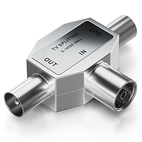 deleyCON Antennen-Verteiler T-Kupplung Zweigeräte-Verteiler für TV/T-Adapter Koax-Kupplung 2X Koax-Stecker Kabelfernsehtauglich Silber (Tv-antennen-splitter)