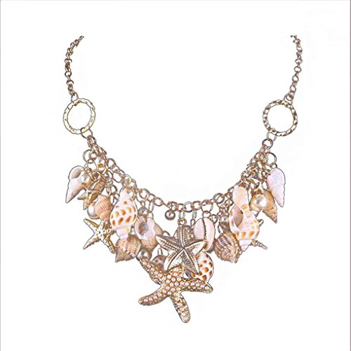 Seashell Meerjungfrau Kostüm - Womens Seashell Pearl Starfish Anhänger Halskette Ocean Beach Schmuck lange Kette Minzhi