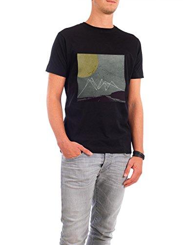 """Design T-Shirt Männer Continental Cotton """"Moon IV"""" - stylisches Shirt Geometrie von Mia Nissen Schwarz"""