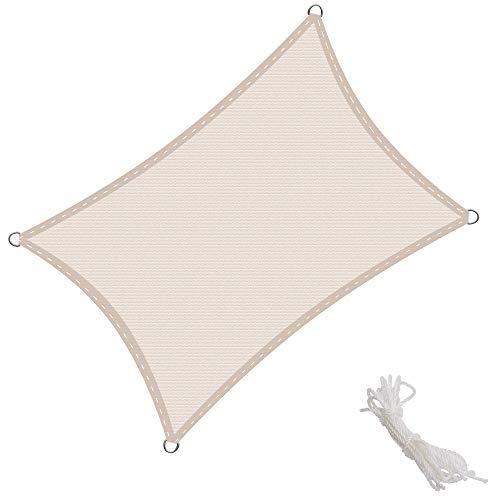 KingShade Tenda a Vela Rettangolare 4x6m, Traspirabile HDPE e Resistente agli Agenti Atmosferici, Protezione dai Raggi UV per Giardino, Balcone e Terrazza, Crema