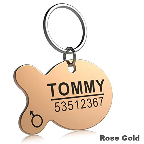 Hykis - Stainless Steel Pet Cat Dog ID Tag Engraved Anti-Lost Cat Small Dog Collars Accessories Cat Necklace ID Name Tags [S Fish Rosegold]