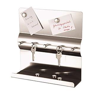 axentia Schlüsselboard in Silber, Memoboard aus rostfreiem Edelstahl, Schlüsselbrett mit fünf Schlüsselhaken, Schlüsselleiste mit fünf Magneten